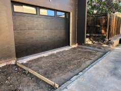 New garage door. Ready to pour concrete driveway