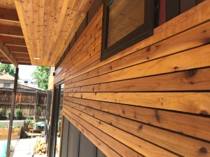 1/8th inch spacing between cedar planks.