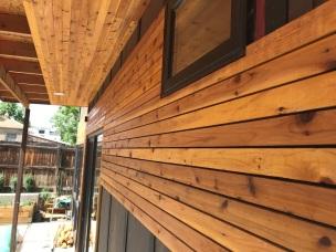 1/8th inch spacing between cedar planks.